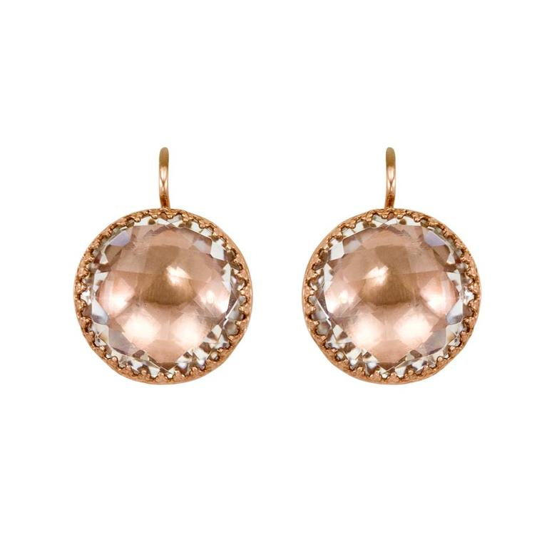 Larkspur & Hawk Olivia Button white topaz earrings in rose gold-washed sterling silver and copper foil ($1,100).