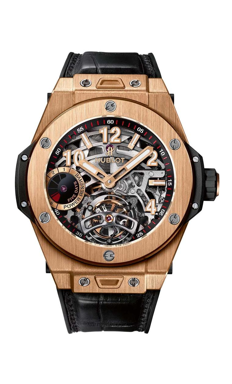 Hublot watches presented its Big Bang Tourbillon 5-day Power Reserve, the first time the Big Bang gets a tourbillon complication. Presented in an imposing 45mm case, the skeleton watch is available in King Gold - the exclusive alloy that Hublot's alchemis