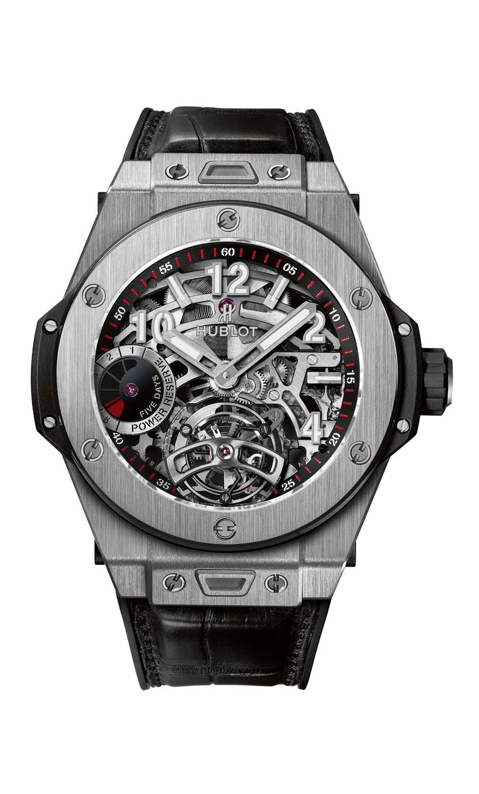 Hublot Big Bang Tourbillon 5-day Power Reserve skeleton watch in titanium features a one-minute tourbillon at 6 o'clock and a power reserve indicator at 9 o'clock. In addition to the complex skeletonisation of the movement, the numbers, indices and hands