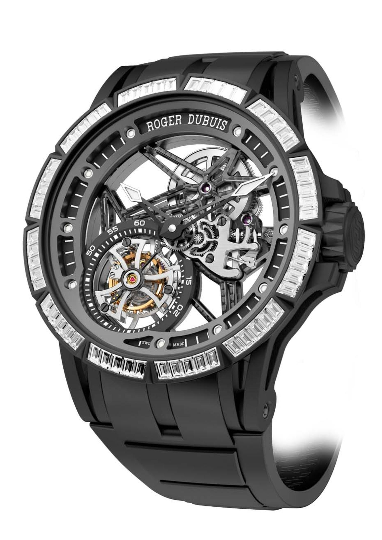 Roger Dubuis Excalibur Spider Skeleton Tourbillon is the first skeleton watch to boast a diamond-set bezel in rubber, a technique that took the brand two years to develop.