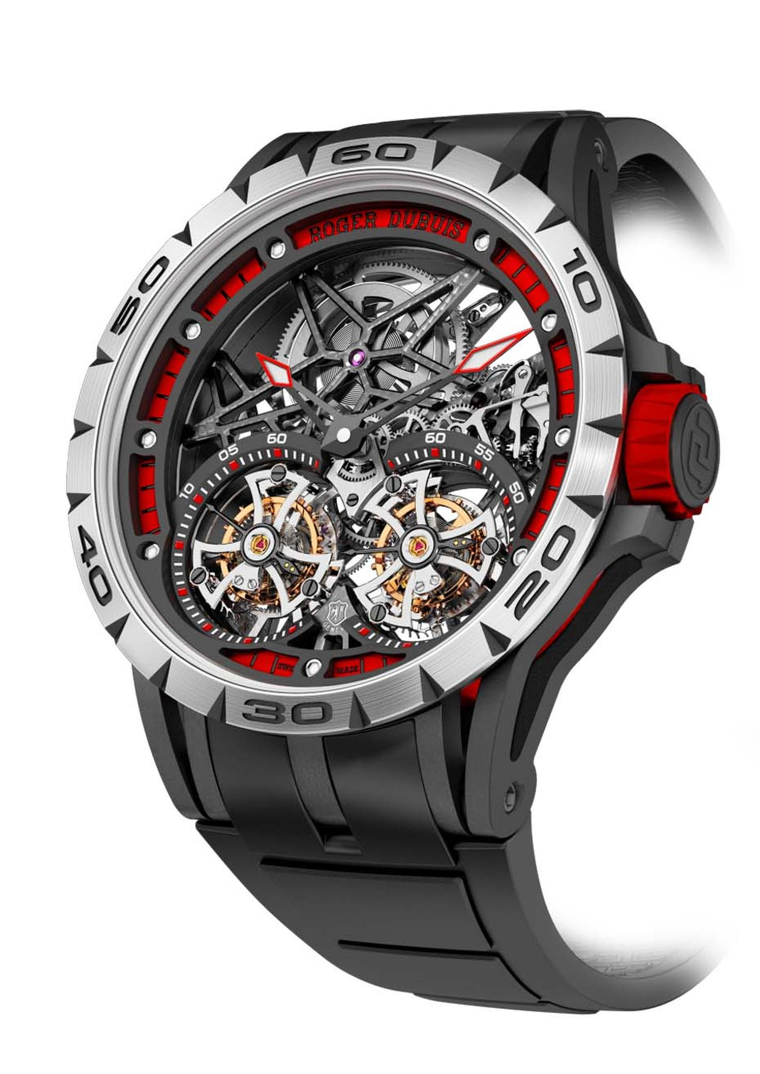 Roger Dubuis Excalibur Spider Skeleton Double Flying Tourbillon comes in a 47mm titanium case treated with black DLC, and features fiery red aluminium elements for a sporty impact and an unimpeded view of the RD01SQ automatic skeletonised movement.