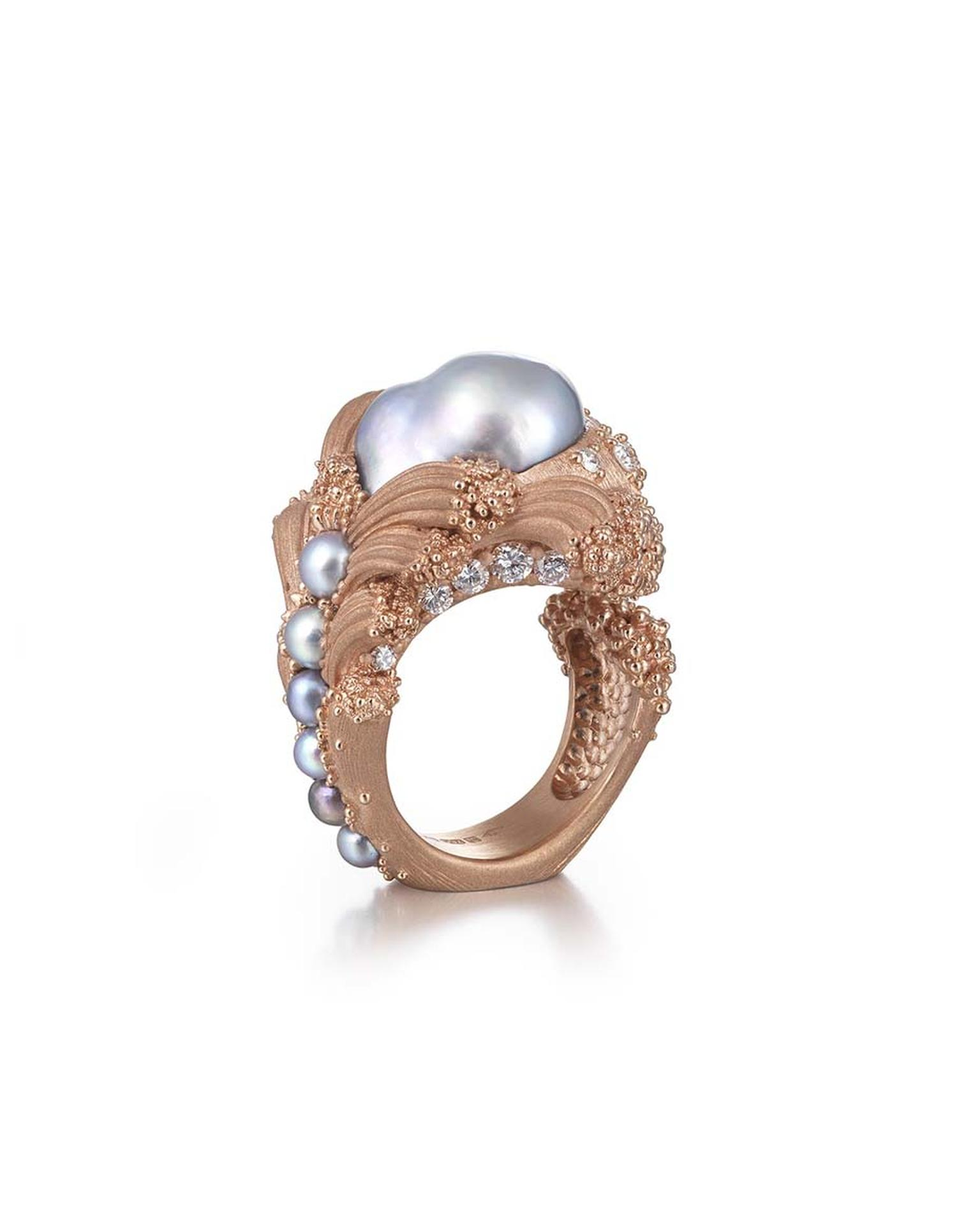 "Ornella Ianuzzi ""Uprising"" ring, currently on display at Goldsmith's Hall, was the winner of 2 Gold Awards at the recent Goldsmiths' Craft & Design Council Awards."