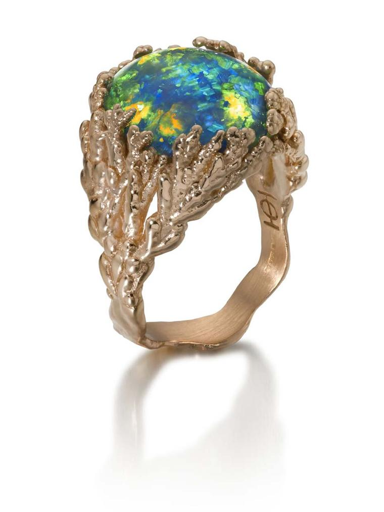 "Ornella Iannuzzi ""Coral Atoll"" ring with a black Australian opal, set in rose gold."