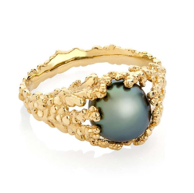 "Ornella Iannuzzi ""Coralline Reef"" ring with a Tahitian pearl, set in gold."