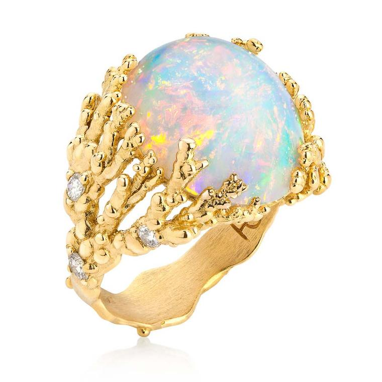 "Ornella Iannuzzi ""Coral Atoll"" ring, featuring an Ethiopian Wello Opal set in gold."