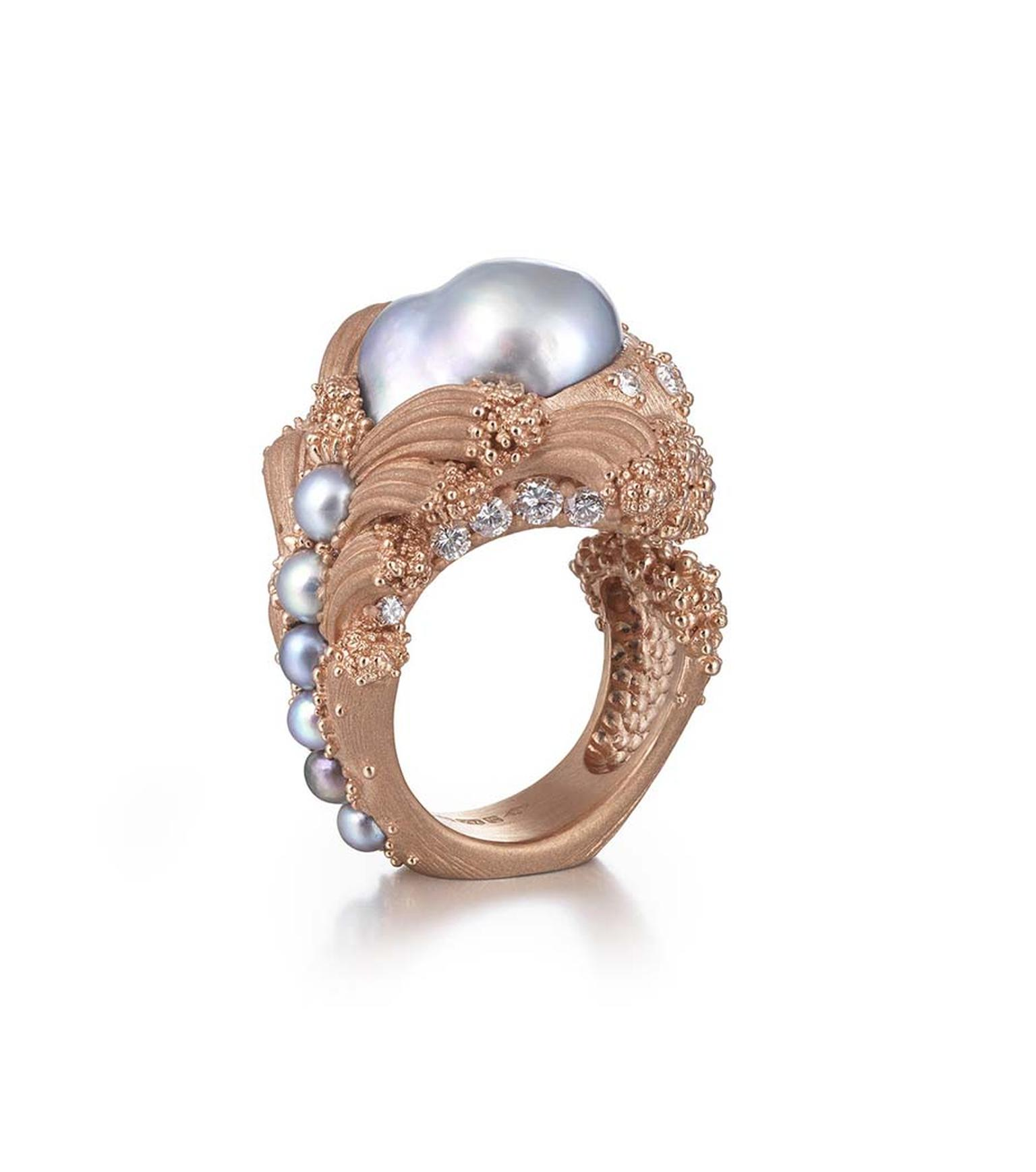 "Ornella Iannuzzi's ""Uprising"" baroque pearl ring, currently on display at Goldsmiths' Hall, was the winner of two prestigious gold awards at the recent Goldsmiths' Craft & Design Council Awards."