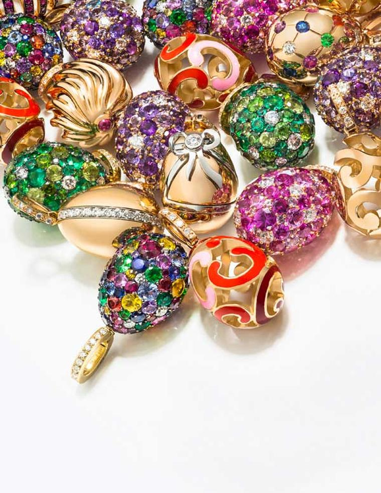 A selection of Fabergé egg charms, which can be worn on a necklace or fastened to a bracelet, will be sold at Harrods Fabergé Egg Bar until the end of March.