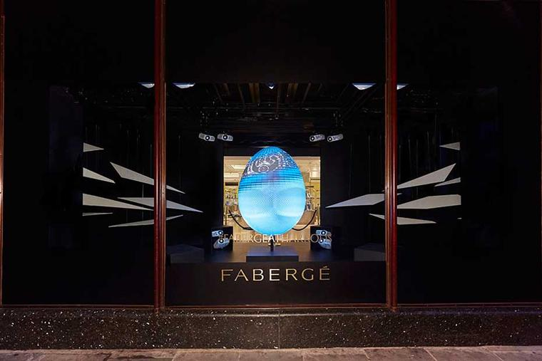 Fabergé has introduced a unique hands-on experience at its pop-up Fabergé Egg Bar at Harrods this Easter, with a 3D projection of a giant, man-sized egg that can be customised with different patterns and colours at the Fabergé Interactive Desk before your