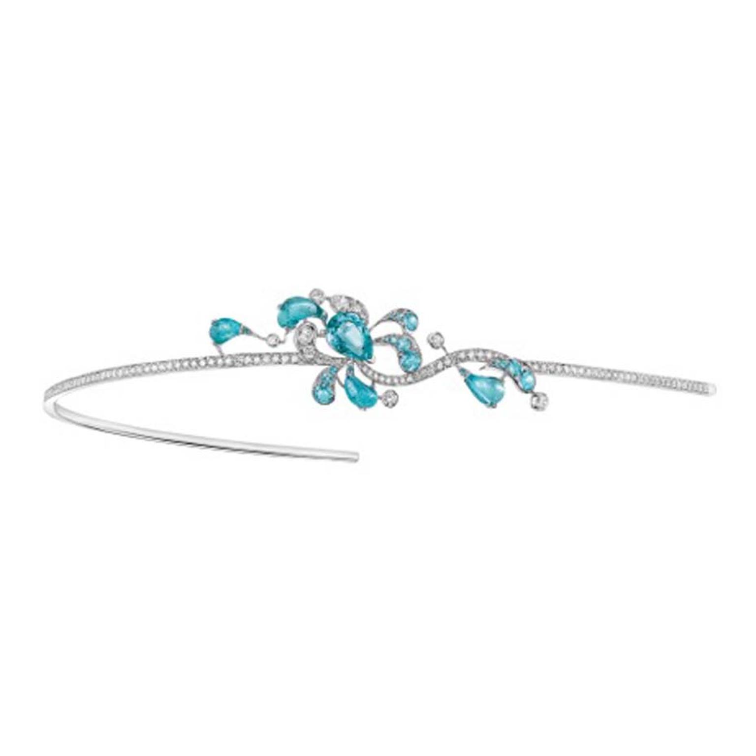 Chaumet hair ornament in white gold, set with diamonds and Paraiba-like tourmalines from Africa, from the Lumières d'Eau high jewellery collection.