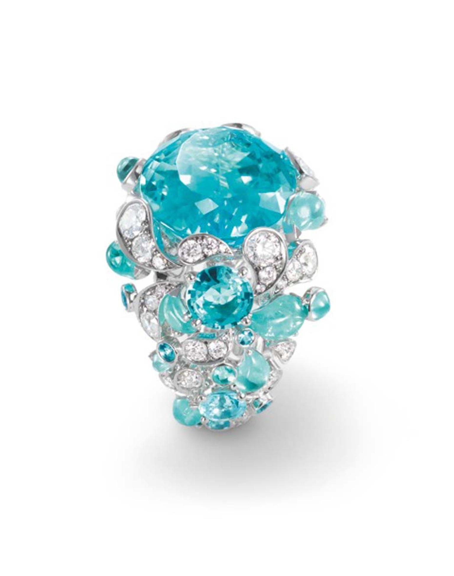 Chaumet also turned to Africa for its latest Lumières d'Eau high jewellery collection, which sets droplets of electric-blue Paraiba-like tourmalines off against splashes of diamonds and a large, square-cut aquamarines.