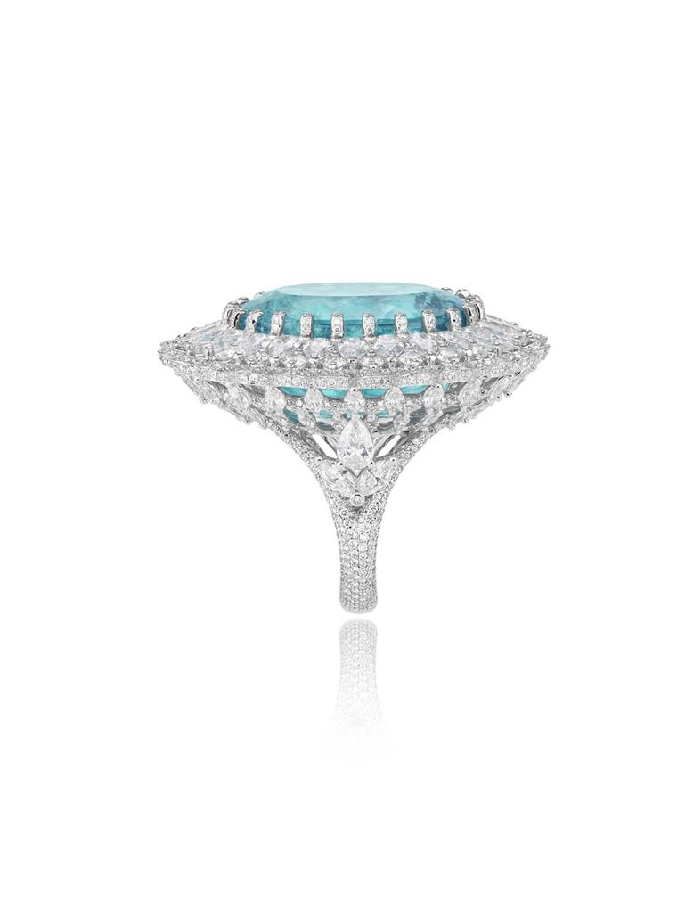 A side view of the magnificent Chopard Paraiba-like tourmaline ring, launched during Paris Couture Week.