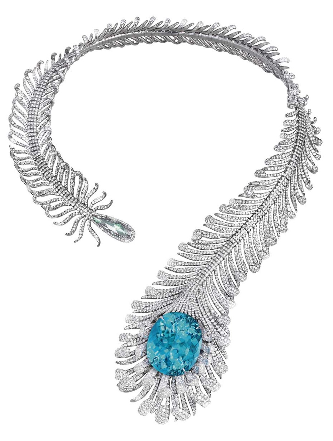 "Moussaieff's feather necklace features a natural ""no heat"" vibrant neon green Paraiba-like tourmaline from Mozambique, mounted in a titanium feather necklace set with 56.35ct of diamonds."