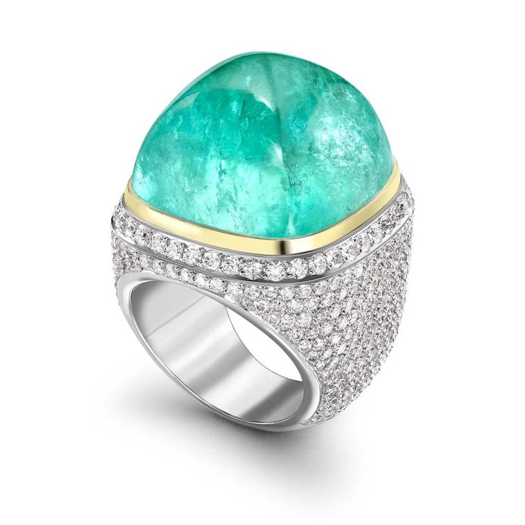 "Theo Fennell has created this spectacular 61.94ct African Paraiba-like tourmaline Mozambique Ring. He describes the mesmerising coloured gemstone as ""Hollywood swimming pool blue""."