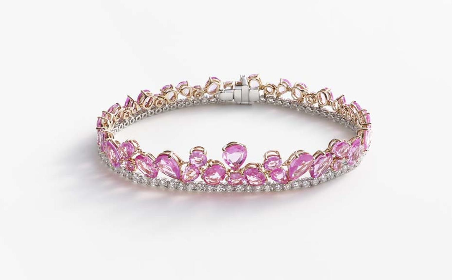 William & Son celebrates pink sapphires in its new Beneath the Rose high jewellery collection. Pink sapphire bracelet with diamonds in white and rose gold.