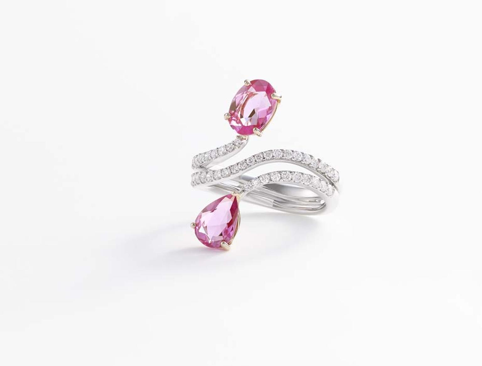 William & Son pink sapphire ring with diamonds in white and rose gold, from the new Beneath the Rose collection.