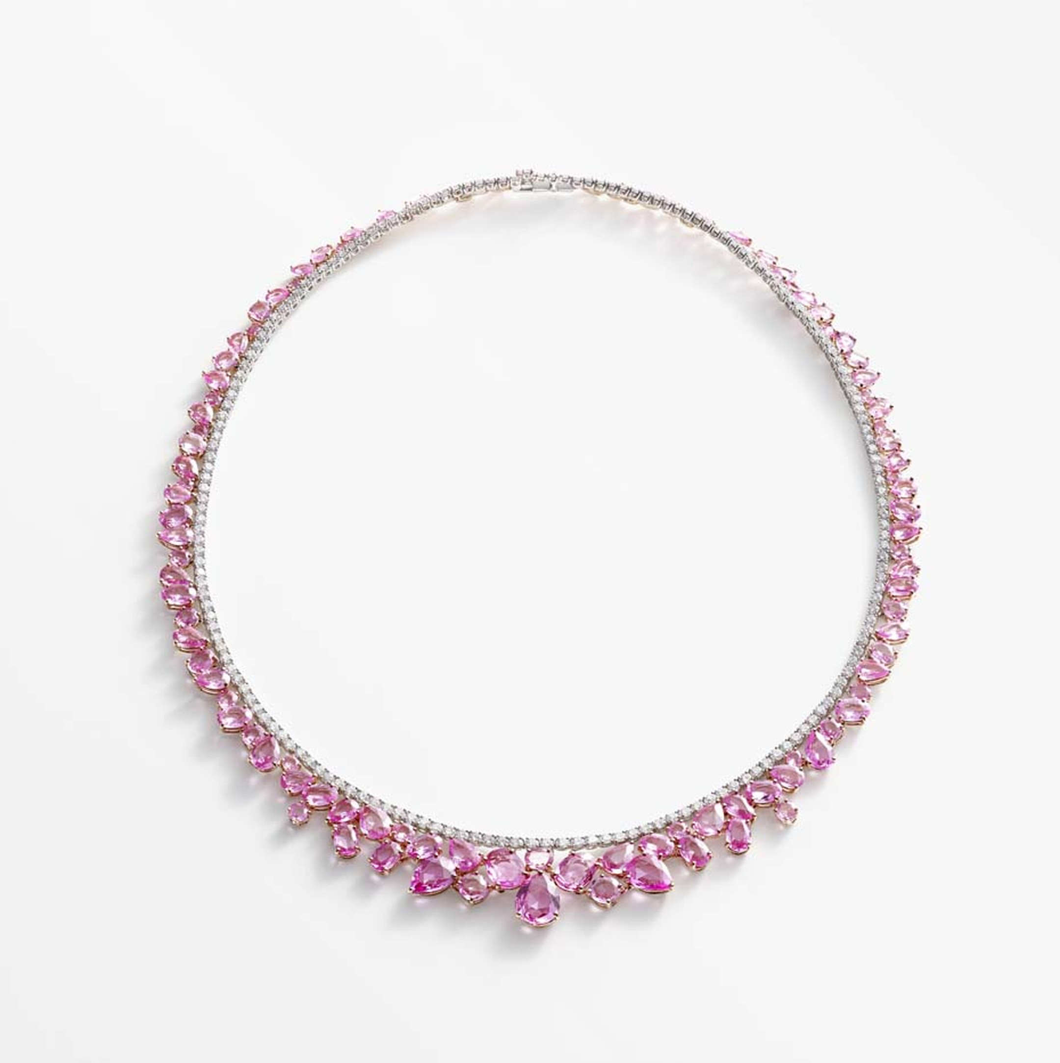 This pink sapphire necklace is the centrepiece of the new William & Son jewellery collection Beneath The Rose and features irregular clusters of rose-cut pink sapphires.