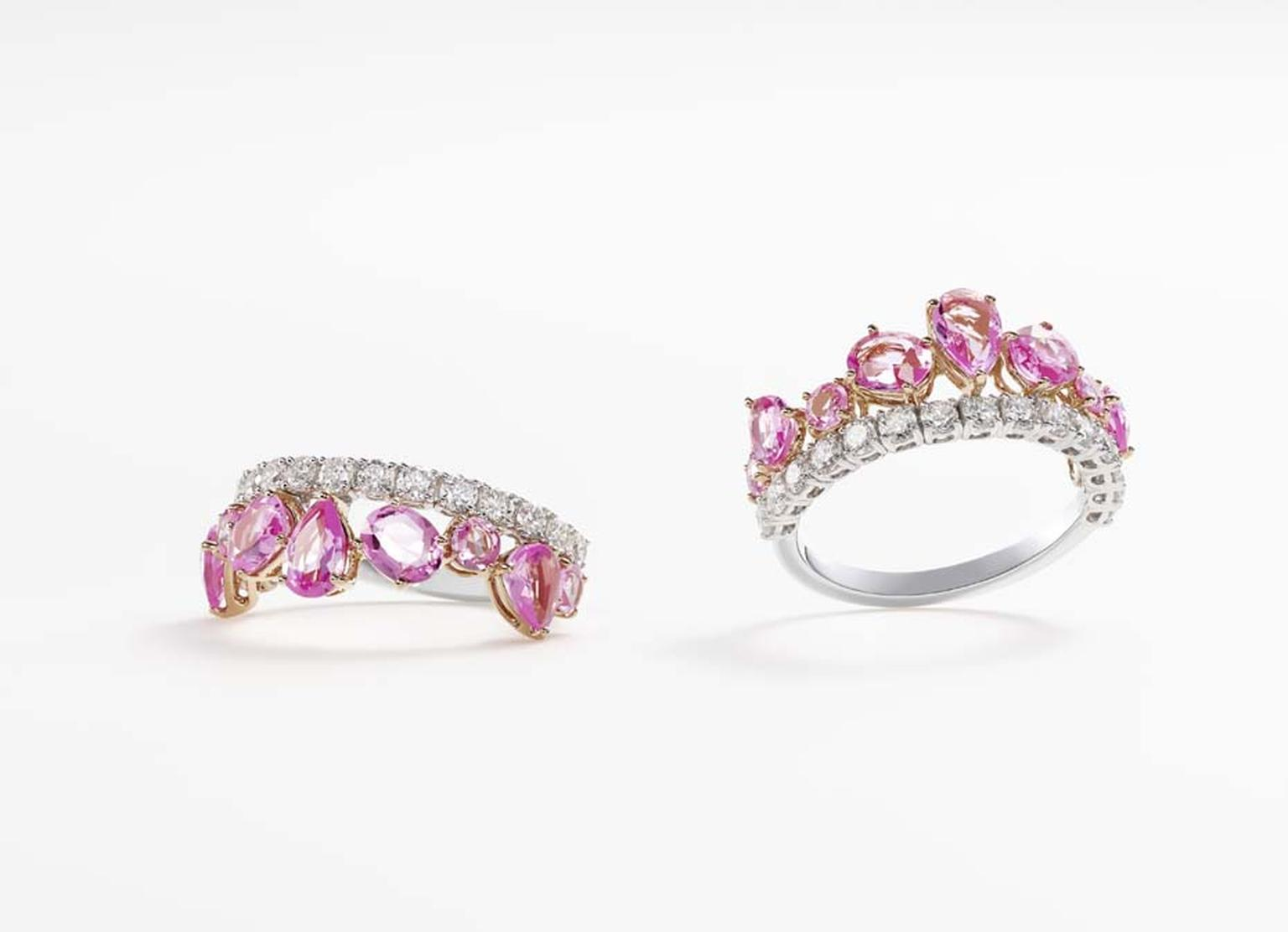 These pink sapphire rings with diamonds by William & Son can be worn either on their own or as a pair, stacked side by side on the finger.
