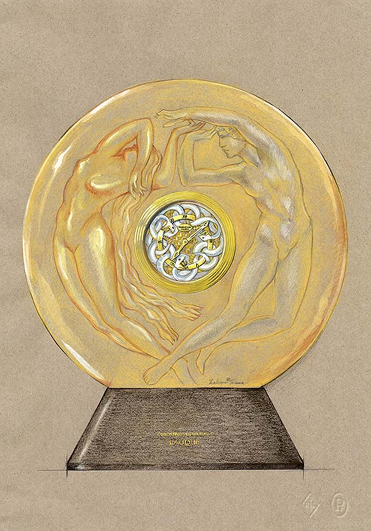 Parmigiani Lalique Serpent table clock has an amber crystal case and a marquetry dial designed in relief with intertwining serpents.