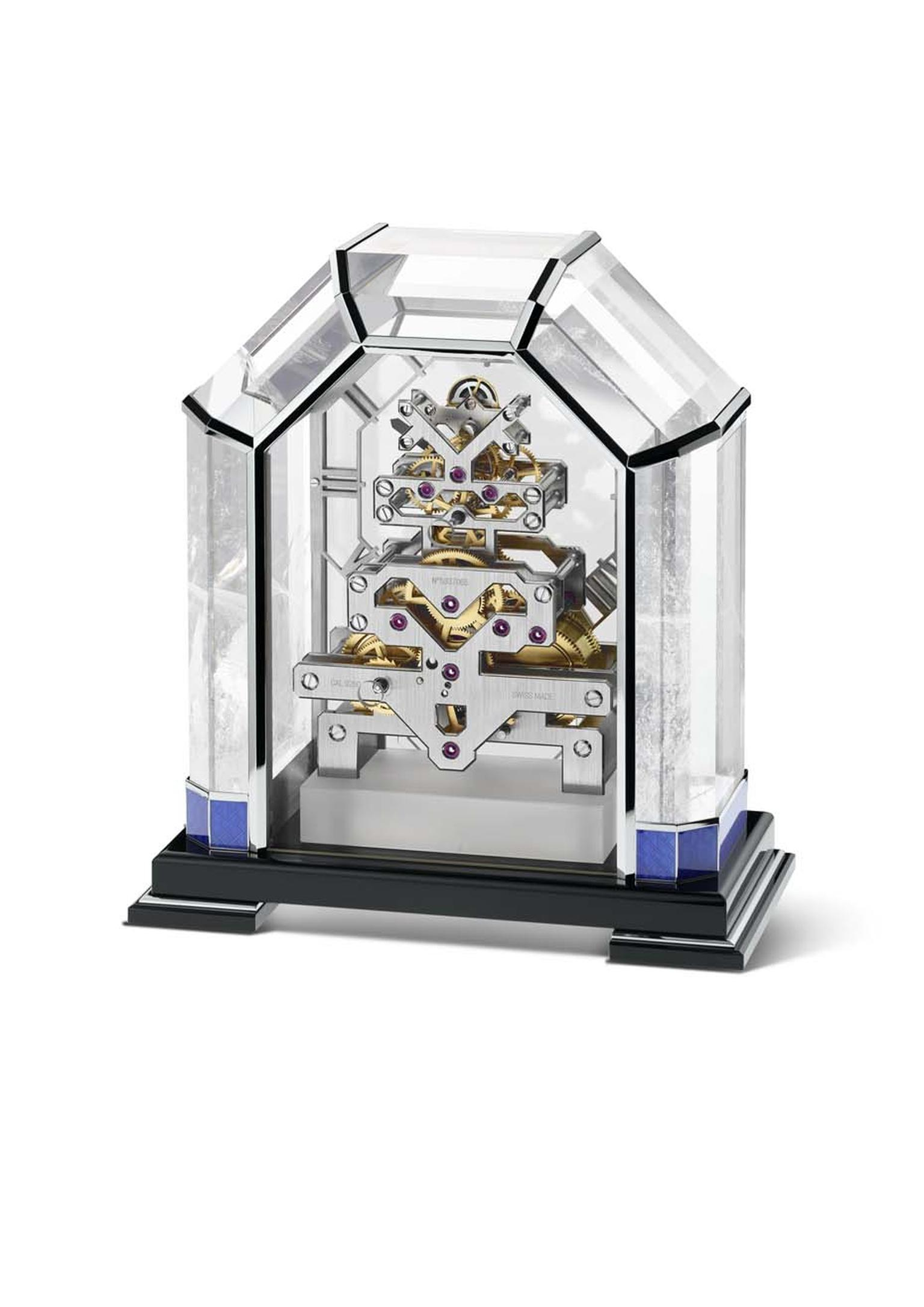 The Vacheron Constantin Arca table clock required the dexterity of a master stonecutter and a master glassmaker to reveal the intrinsic beauty of the rock crystal. Sitting on an obsidian plinth, the piers of the arch feature blue Grand Feu enamelling and