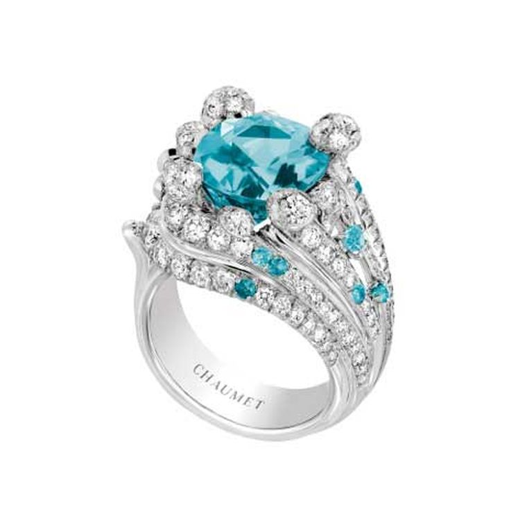Chaumet African Paraiba-like tourmaline ring from the Lumières d'Eau high jewellery collection.