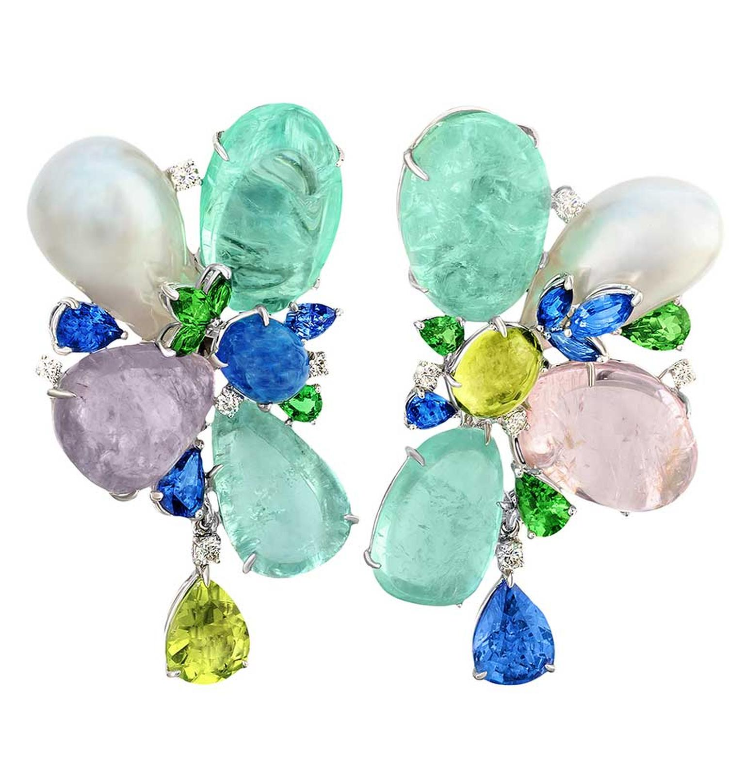 Margot McKinney high jewellery earrings set with African Paraiba-like tourmalines totalling 62.65ct, sapphires, tsavorite garnets, diamonds and South Sea pearls.
