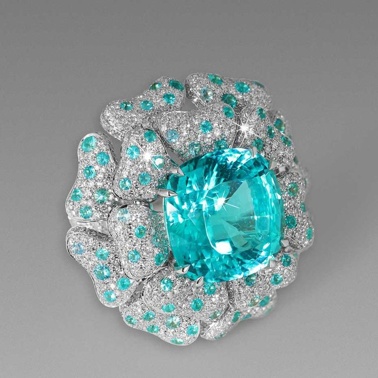 David Morris Mozambique Paraiba Reef ring, set with 17.22ct Paraiba-like tourmalines and diamonds in white gold.