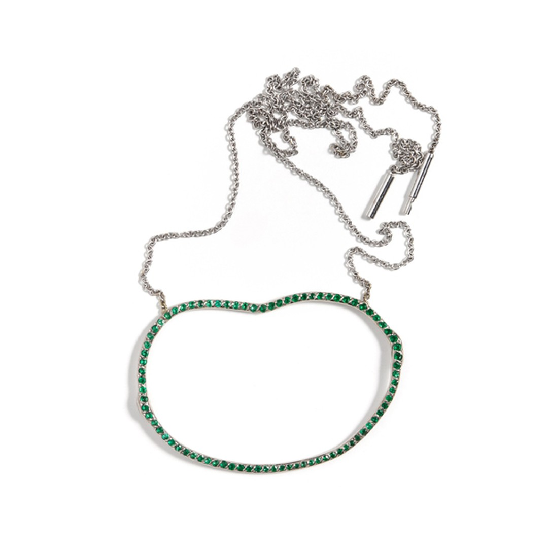 "Alexandra Jefford's ""negative space"" emerald necklace celebrates simplicity and organic forms (available at kultia.com)."