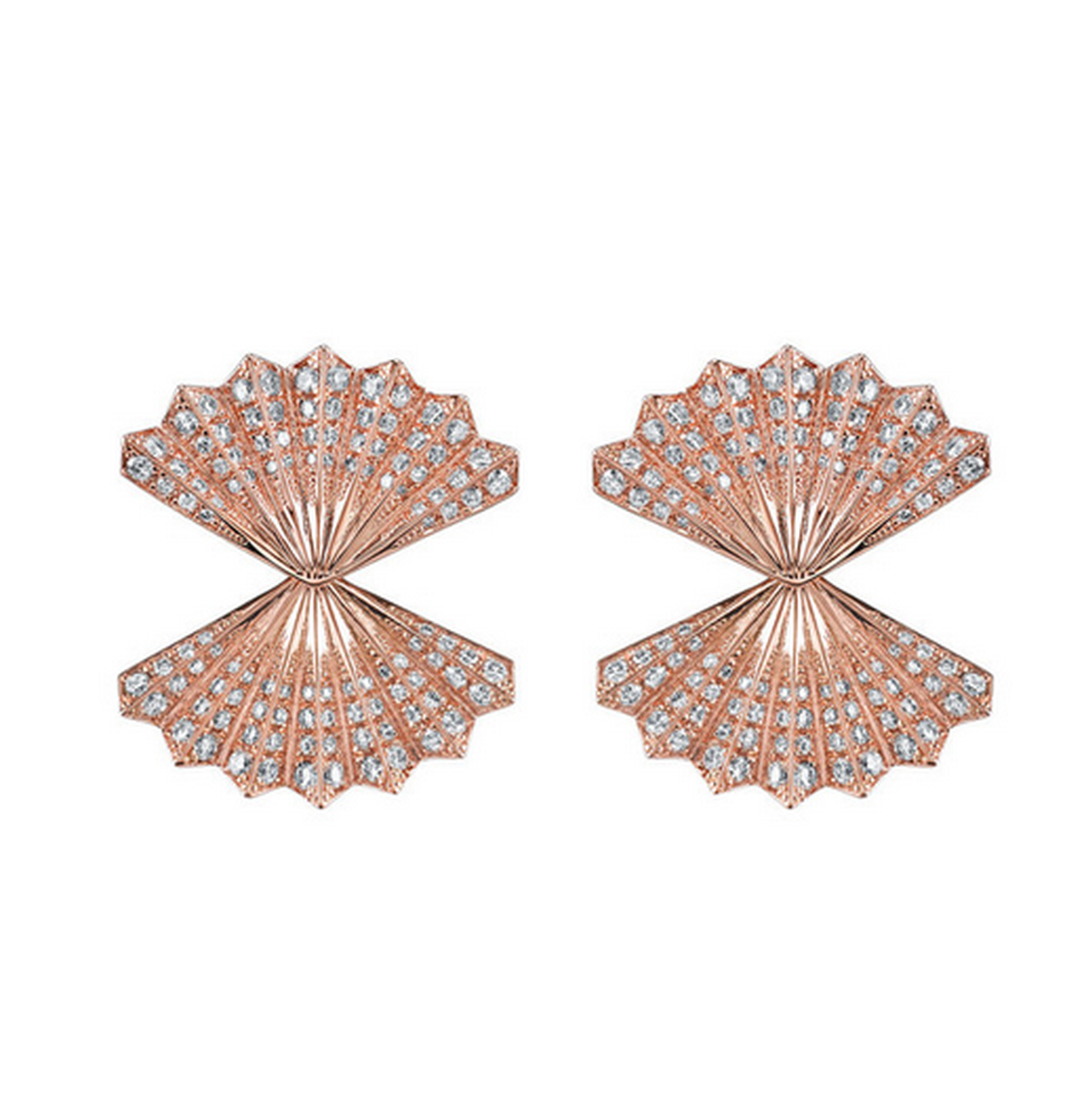 Rose gold double-fan diamond earrings by LA-based designer Anita Ko (£7,000, available at net-a-porter.com).