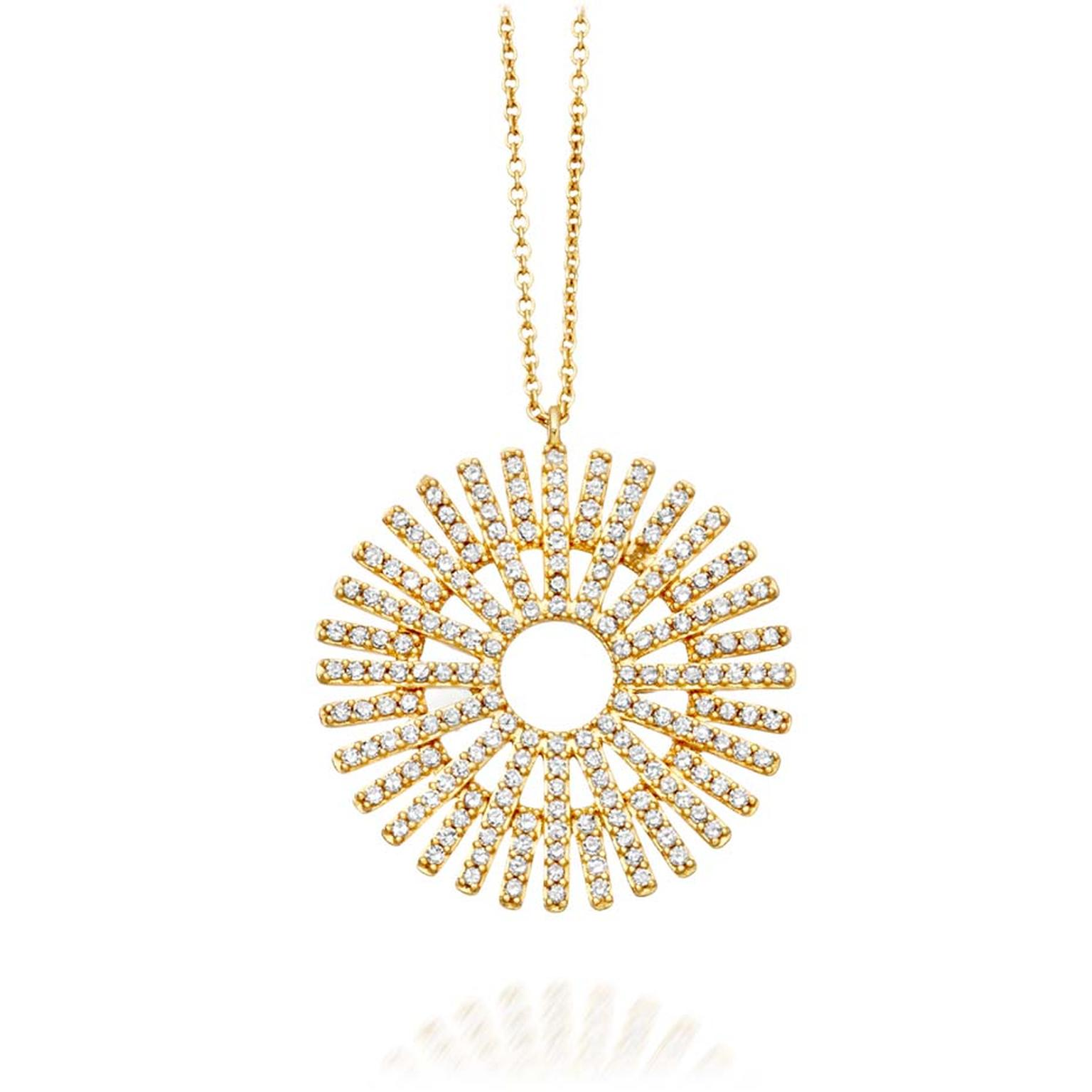 Astley Clarke Rising Sun yellow gold and diamond pendant, new to the Muse collection (£1,350; available at astleyclarke.com).