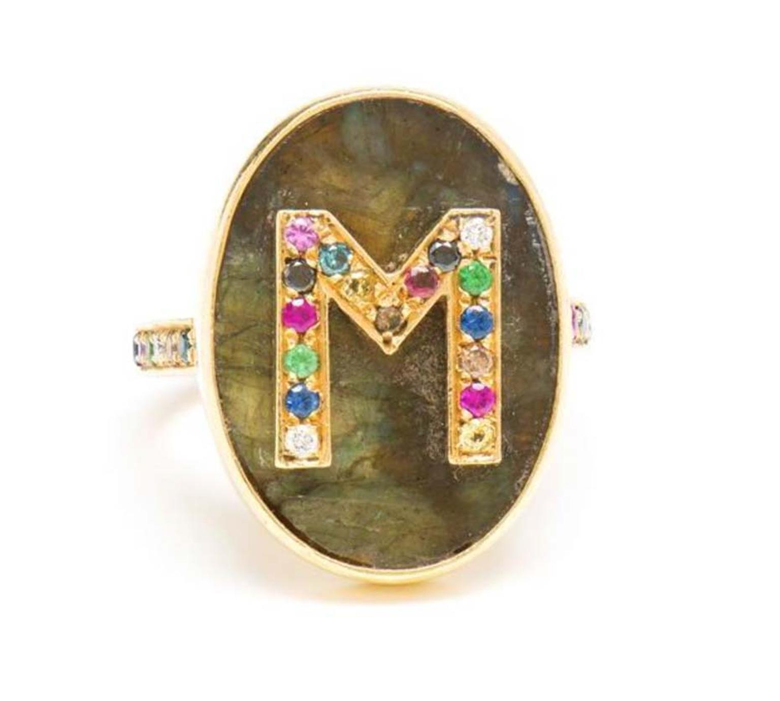 Personalised designer jewellery is a key trend for 2015, so spoil your mother with this bespoke Carolina Bucci high jewellery ring, featuring a gemstone-encrusted letter.