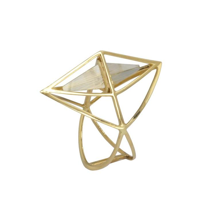 Kattri Tetrahedron yellow gold and rutilated quartz ring (£899; available at kattri.com).