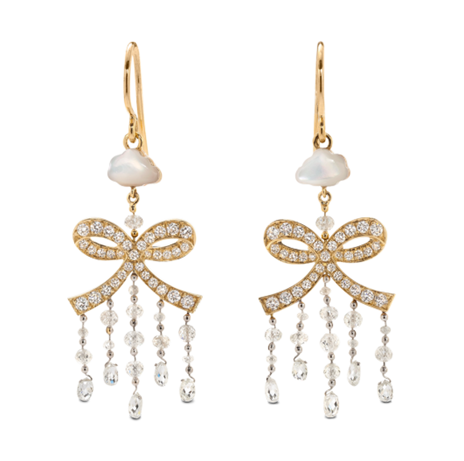 Solange Azagury-Partridge Rain Bow earrings, with pavé diamond bows and mother-of-pearl clouds.