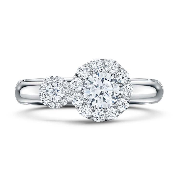 Satellite Bridal diamond engagement ring by award-winning designer Andrew Geoghegan in platinum set with a 1ct diamond and accent stones.