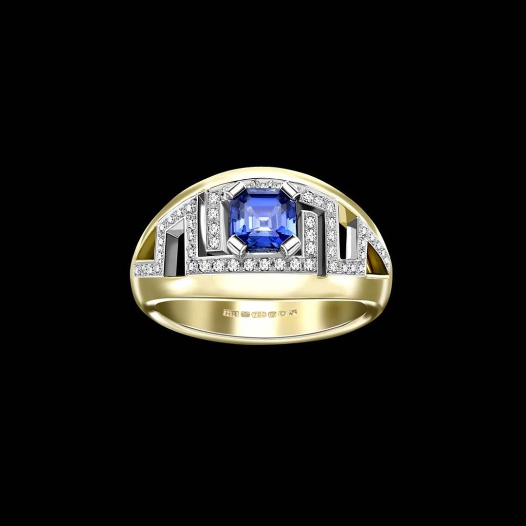 Hattie Rickards bespoke sapphire engagement ring in Fairtrade yellow gold set with pavé diamonds.