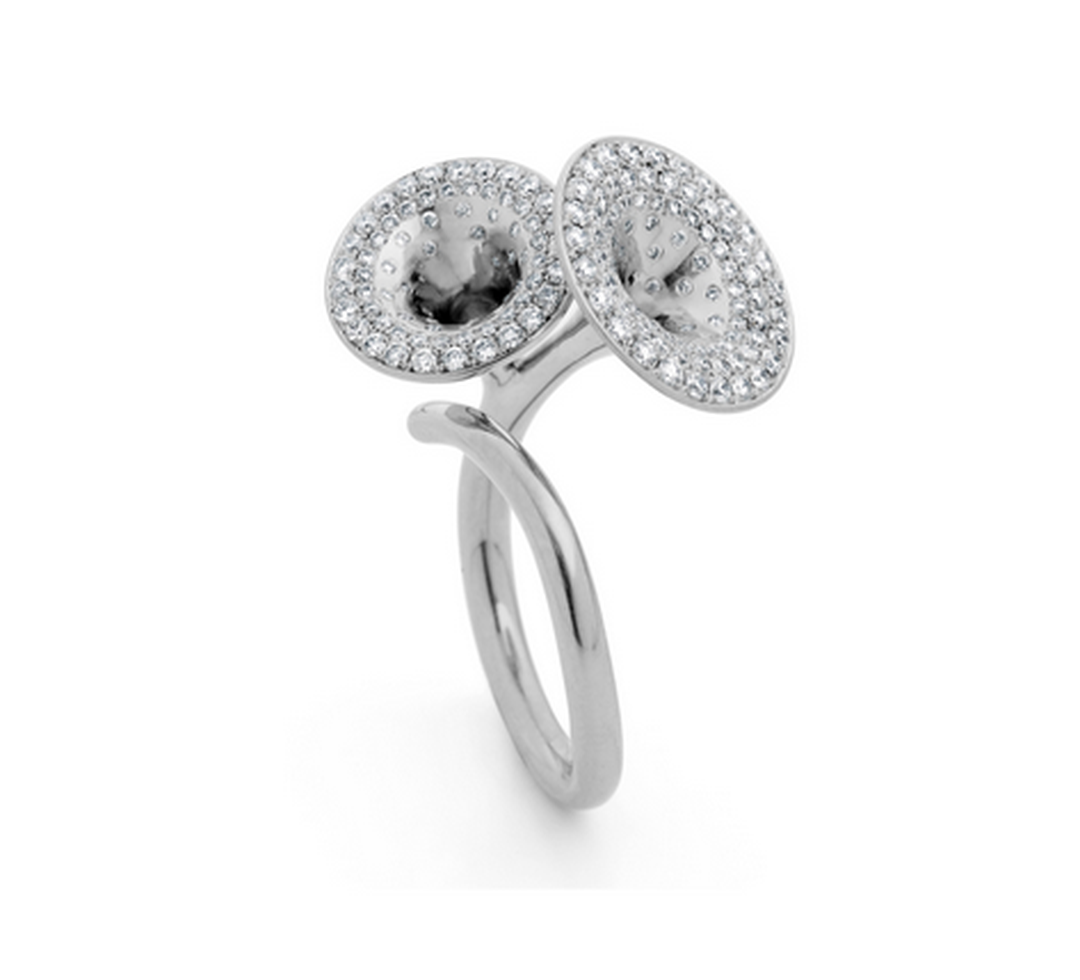 Jessica Poole Double Jubilee Dress ring in white gold, micro pavé set with 1.05ct diamonds.