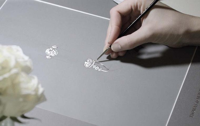 Thomas de Montegriffo focuses solely on bespoke one-off engagement rings, starting with sketches and gouaches before transforming them into a unique engagement ring.