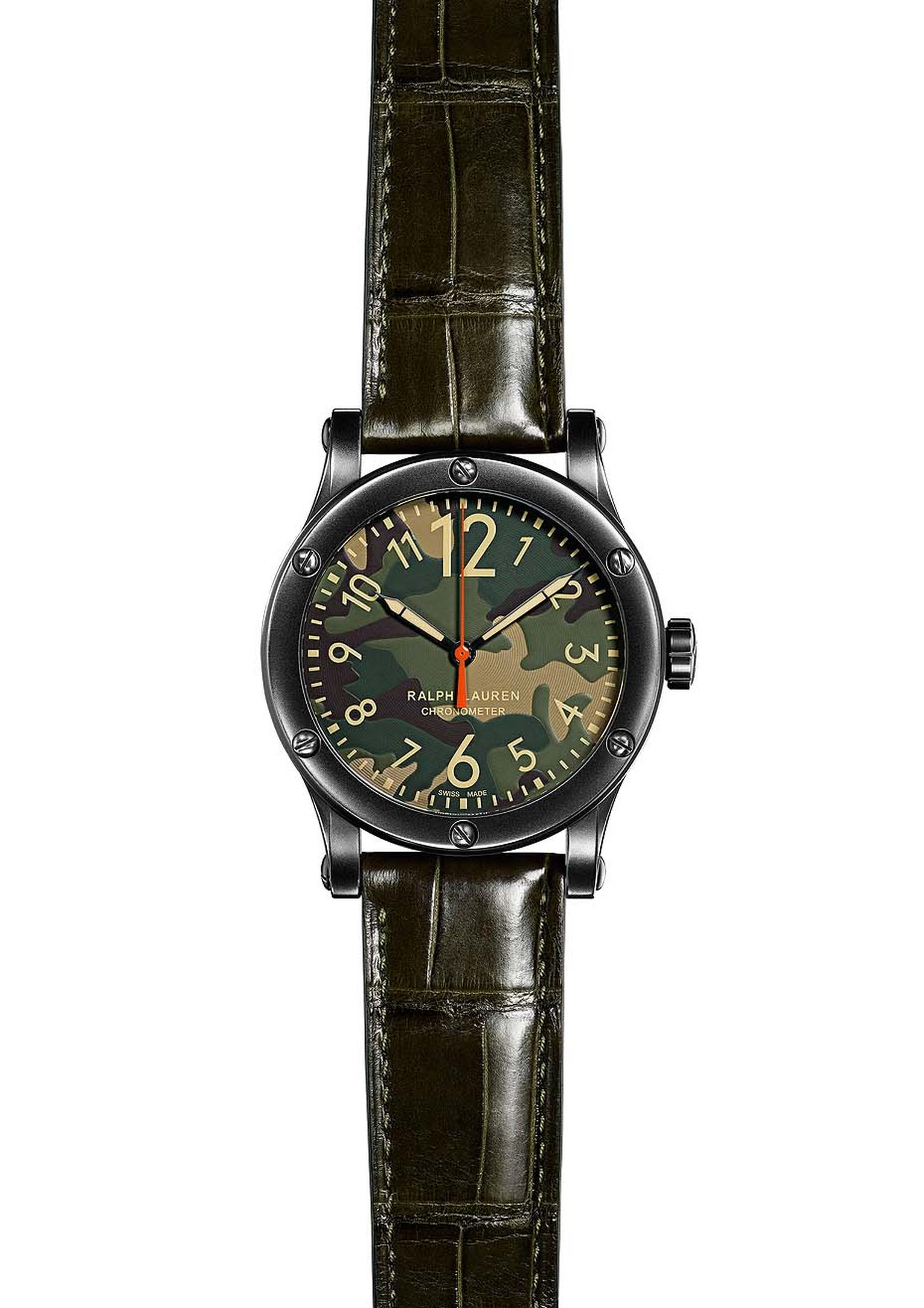 Ralph Lauren watches Safari Chronometer boasts a mottled green camouflage dial and comes in a 45mm blackened steel case with a green alligator strap.