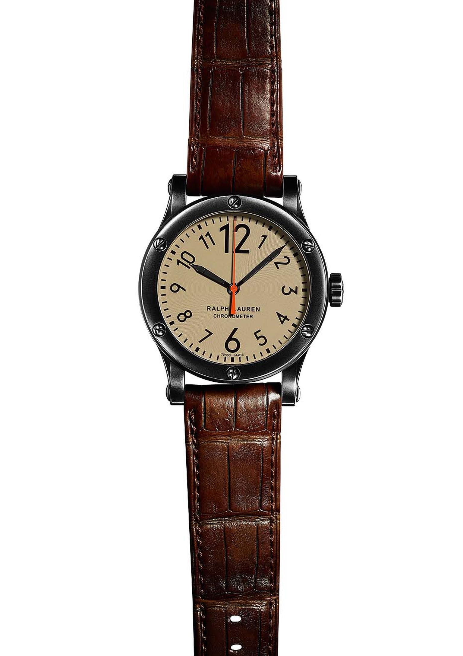 Ralph Lauren watches Safari Chronometer has been kitted out with a khaki-coloured dial and is presented in a 39 or 45mm stainless steel case with a blackened finish.