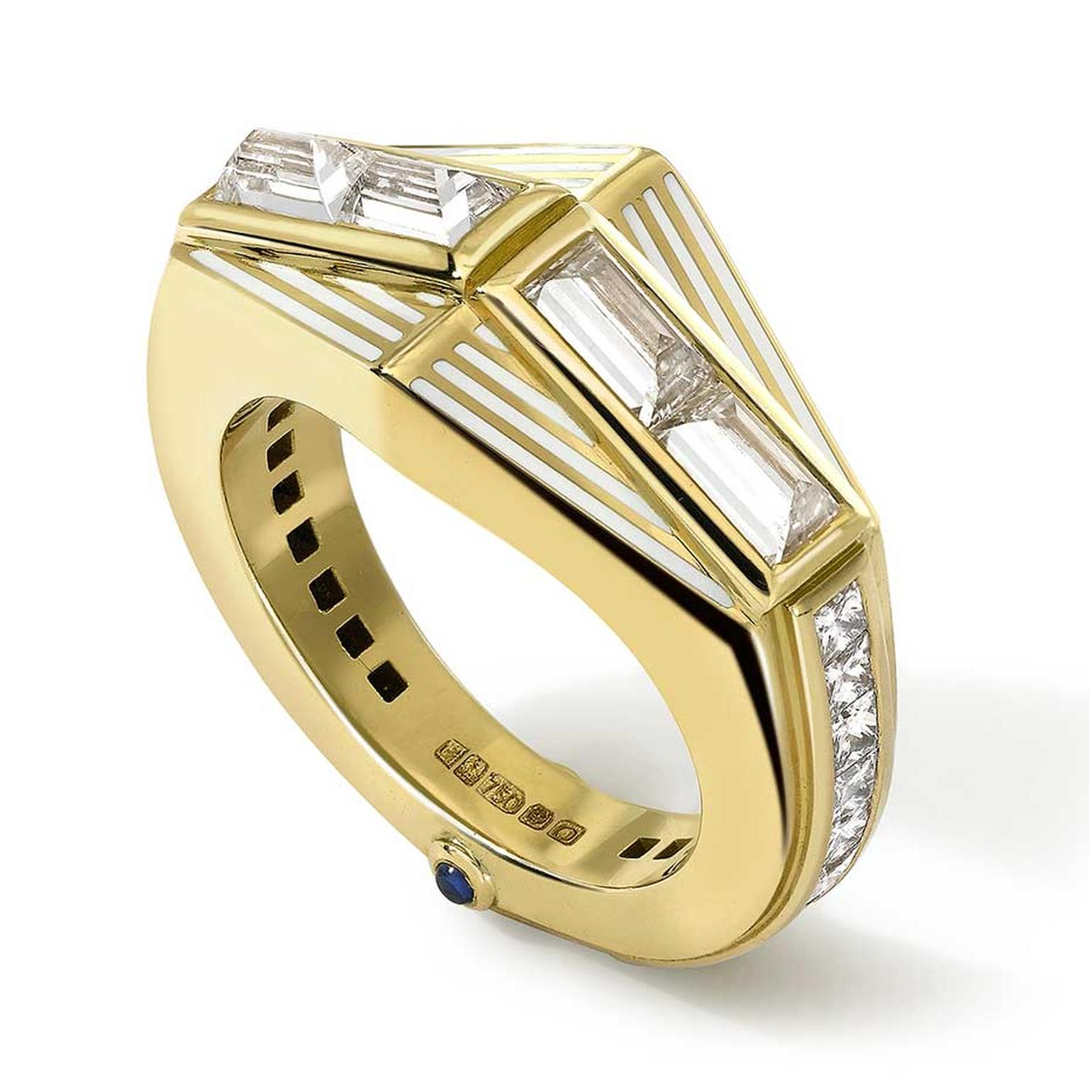 Art Deco-style diamond engagement ring by Emma Franklin with four, large, flipped baguette-cut diamonds, white enamel lines, channel-set princess-cut diamonds, and two cabochon star sapphires.