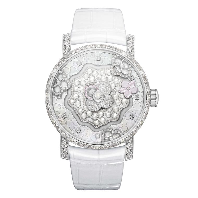 Chaumet Hortensia Creative Complication watch houses an exclusive Swiss automatic movement and involved the work of countless artisans to sculpt the mother-of-pearl dial, engrave the 41mm white gold case and set the diamonds.