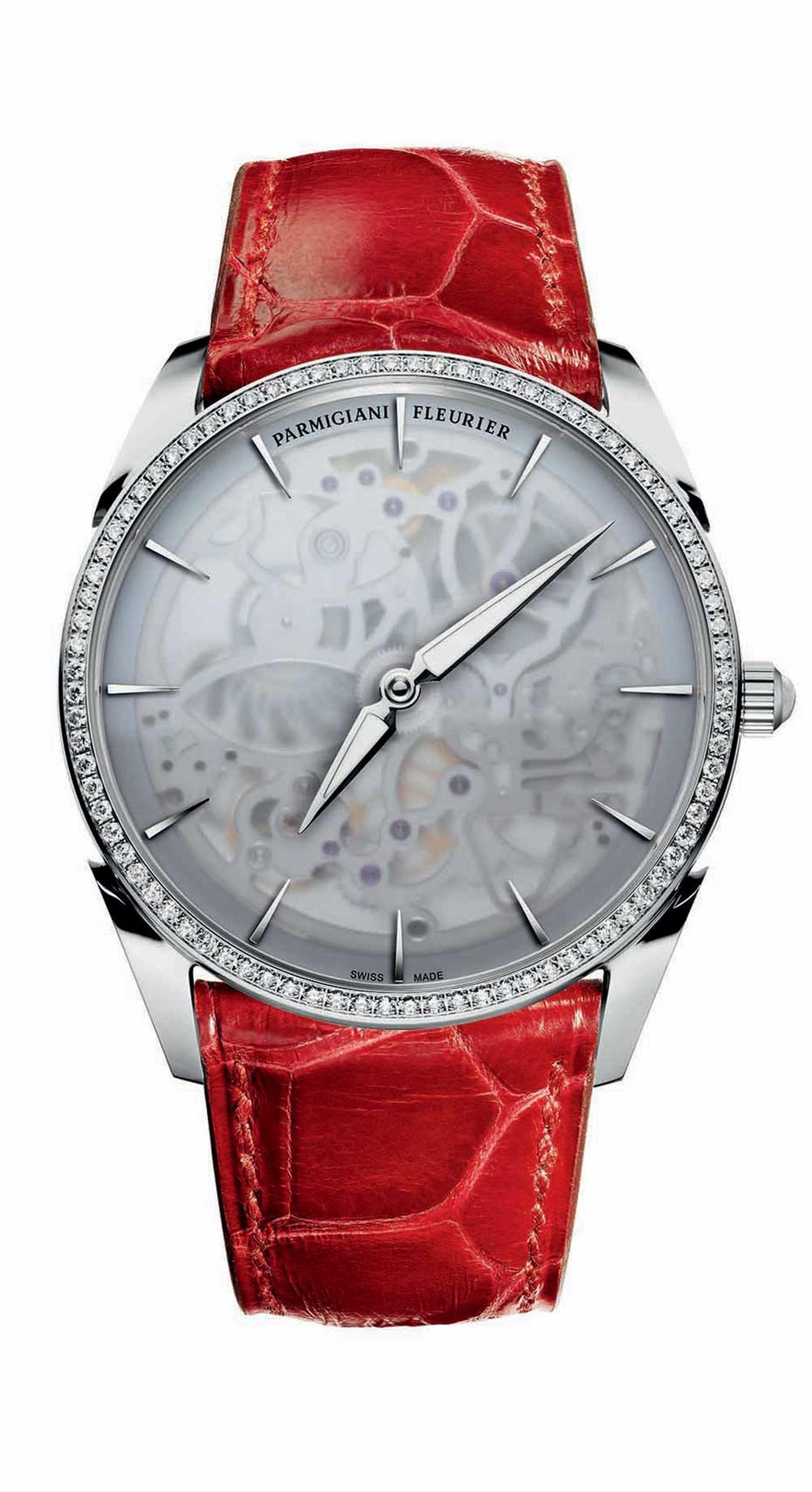 Parmigiani Tonda 1950 Squelette ladies' watch veils the anatomy of its complex skeletonised movement with a frosted sapphire crystal.