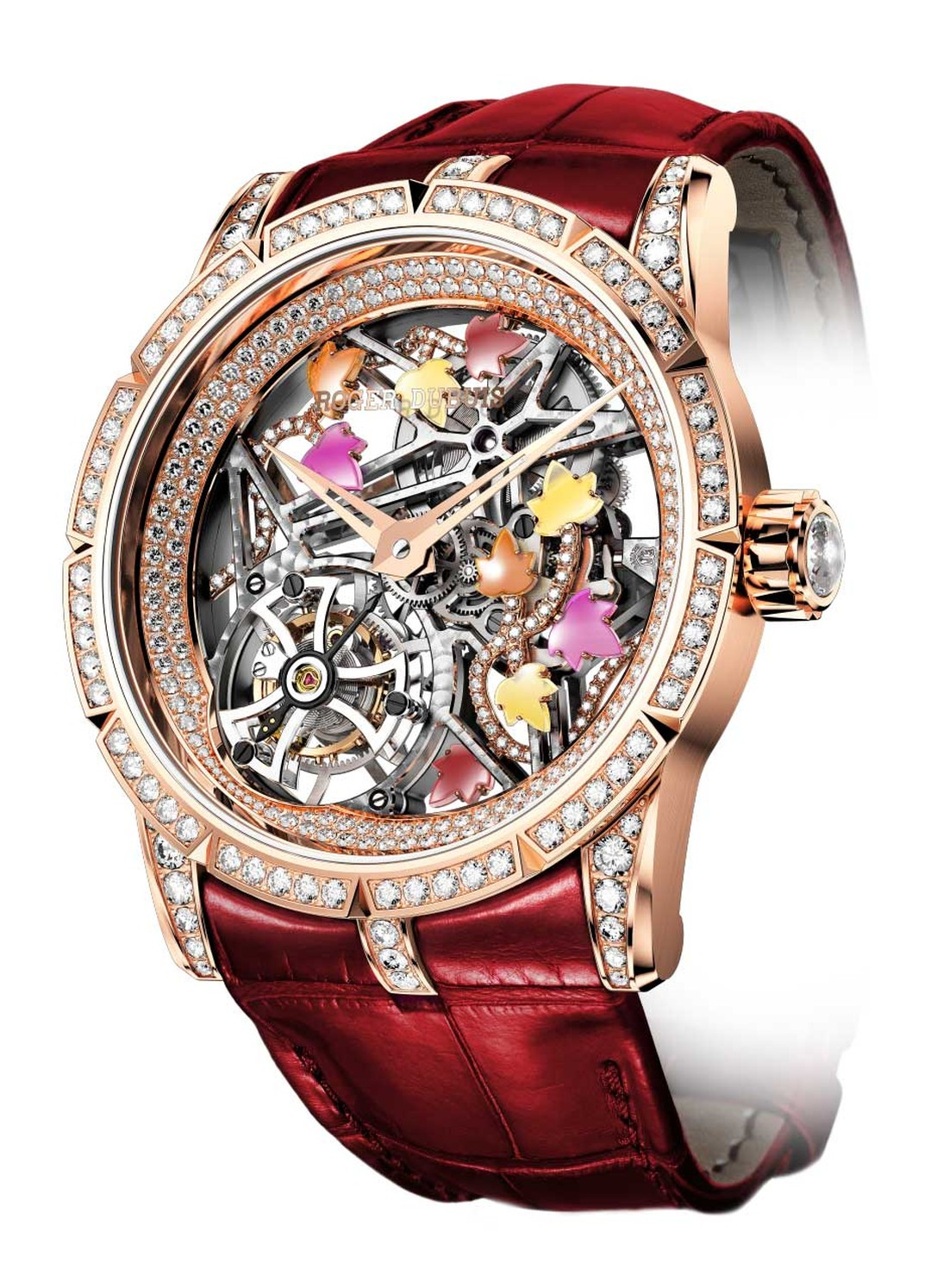 Roger Dubuis watches transports us back to the Arthurian fantasy forest with the Excalibur Creative Skeleton Brocéliande ladies' watch. A trellis of colourful ivy leaves entwine themselves around the skeletonised architecture of the watch.