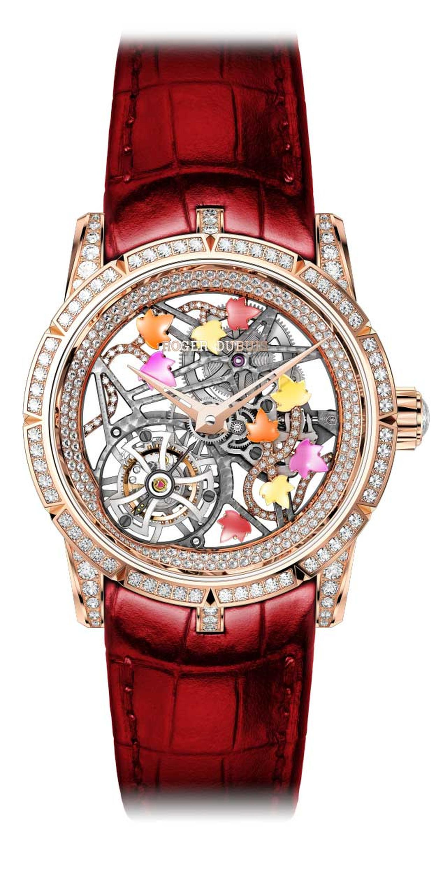 Roger Dubuis Excalibur Creative Skeleton Brocéliande ladies' watch features a flying tourbillon, semi-precious stones on the ivy leaves, and 3.44 carats worth of diamonds sprinkled over the 42mm rose gold case.