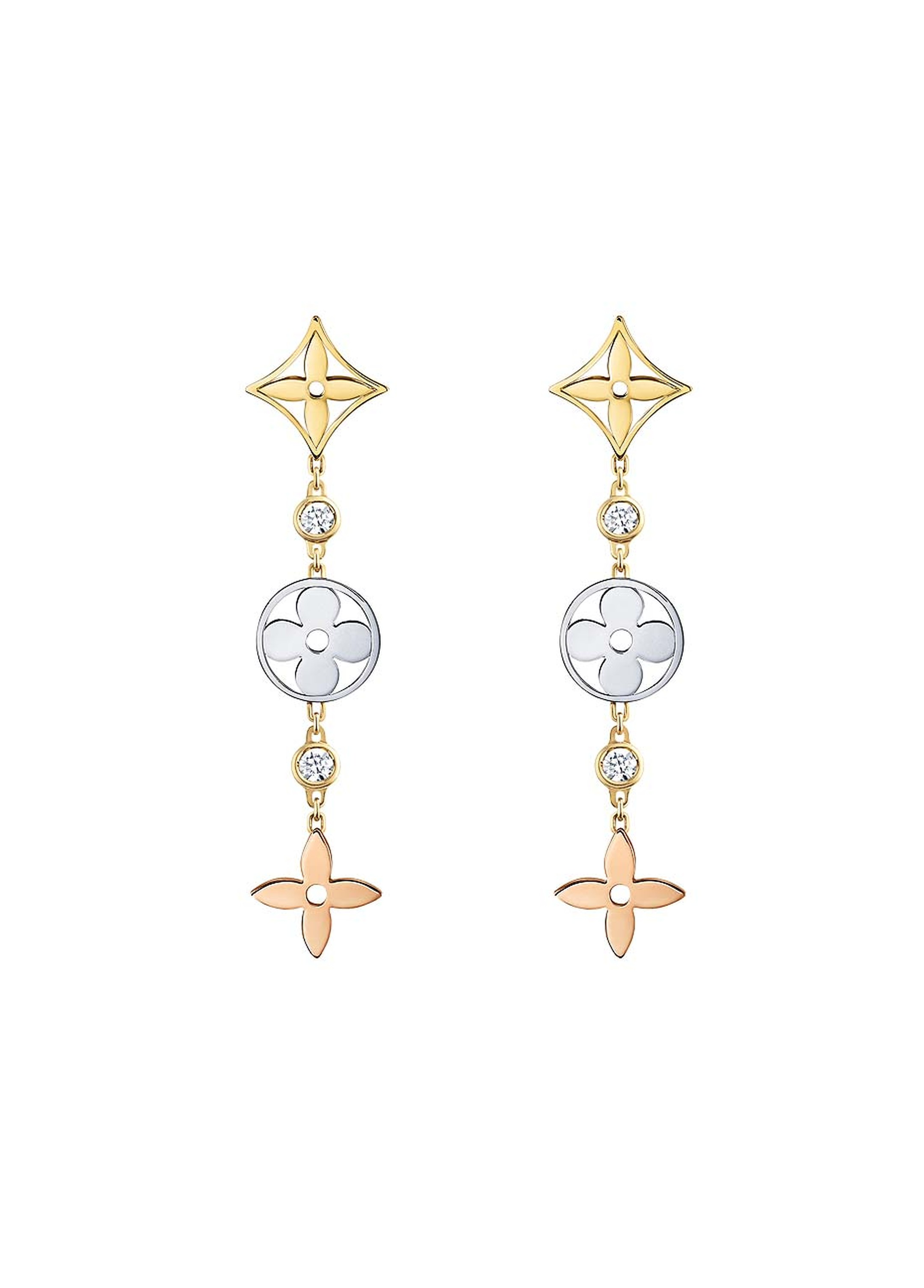 Louis Vuitton earrings in pink, yellow and white gold with diamonds from the new Monogram Idylle collection (£2,110).