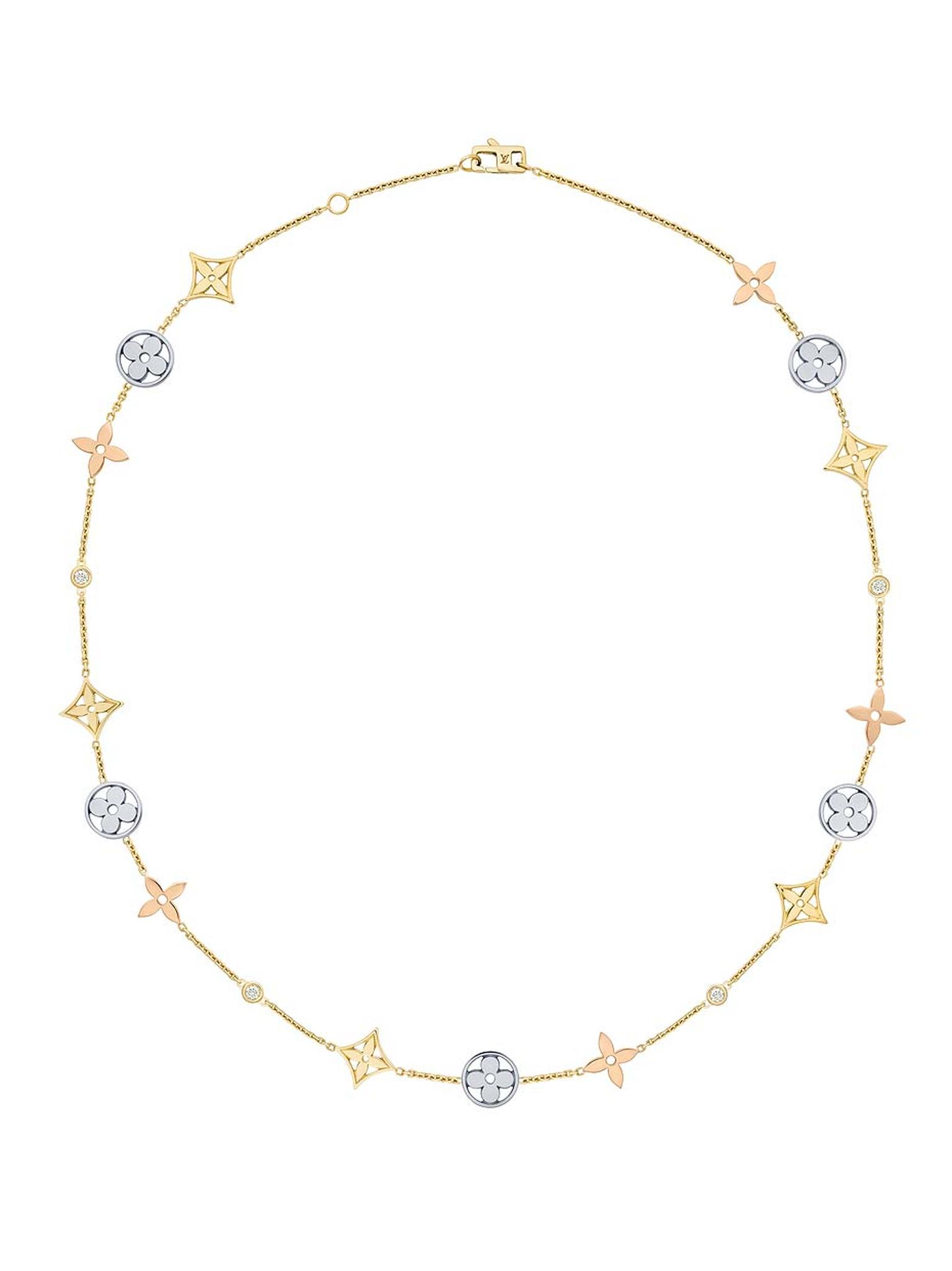 This Louis Vuitton necklace from the new Monogram Idylle collection features Louis Vuitton's signature flowers in white, yellow and pink gold with diamond accents on the chain (£4,400).