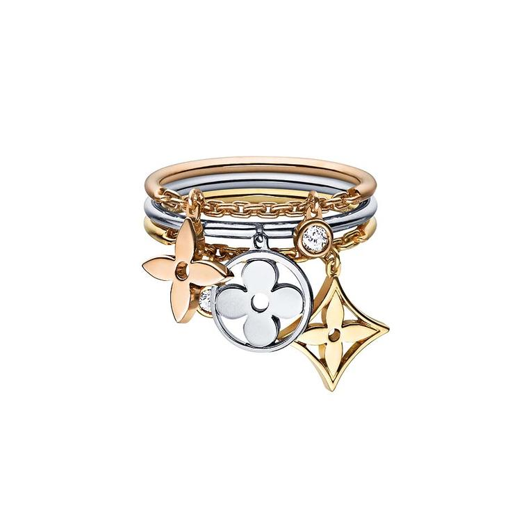 Featuring the Maison's signature motifs, this Louis Vuitton ring from the Mongram Idylle collection can be stacked or worn separately to suit your mood (£1,820).