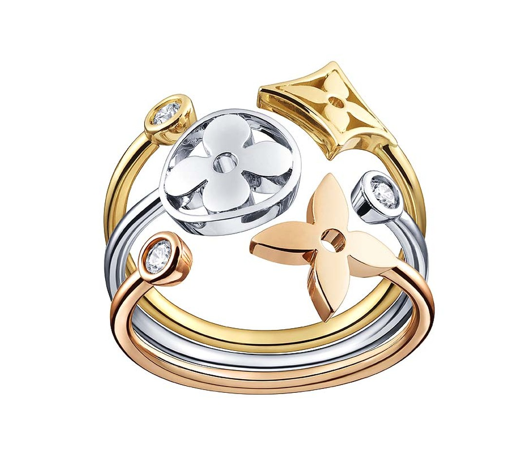 This stackable Louis Vuitton ring in white, yellow and pink gold with diamonds from the Monogram Idylle collection can be worn together or separately (£2,030).