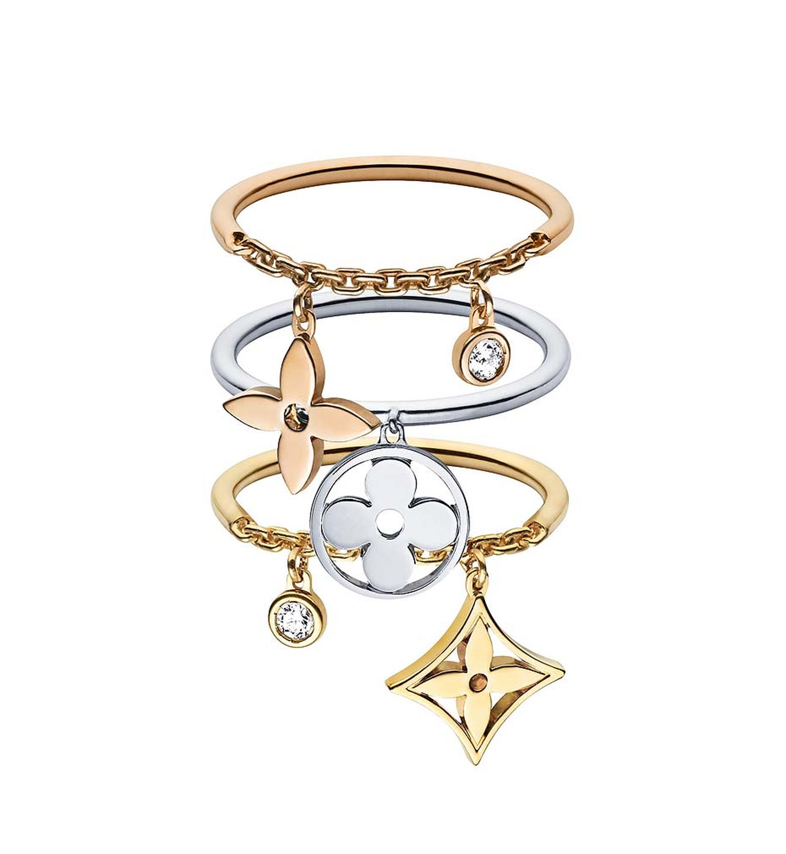 Louis Vuitton's Dangling Variations ring can be worn separately, or stacked together to make more of a statement.
