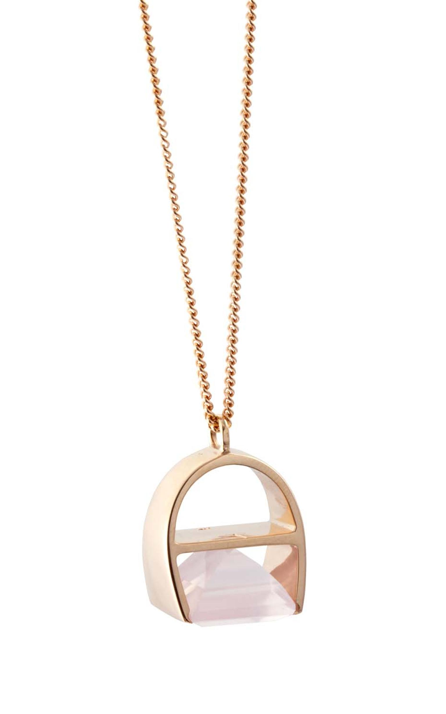 Kattri Parabola rose gold and rose quartz necklace (£3,150).