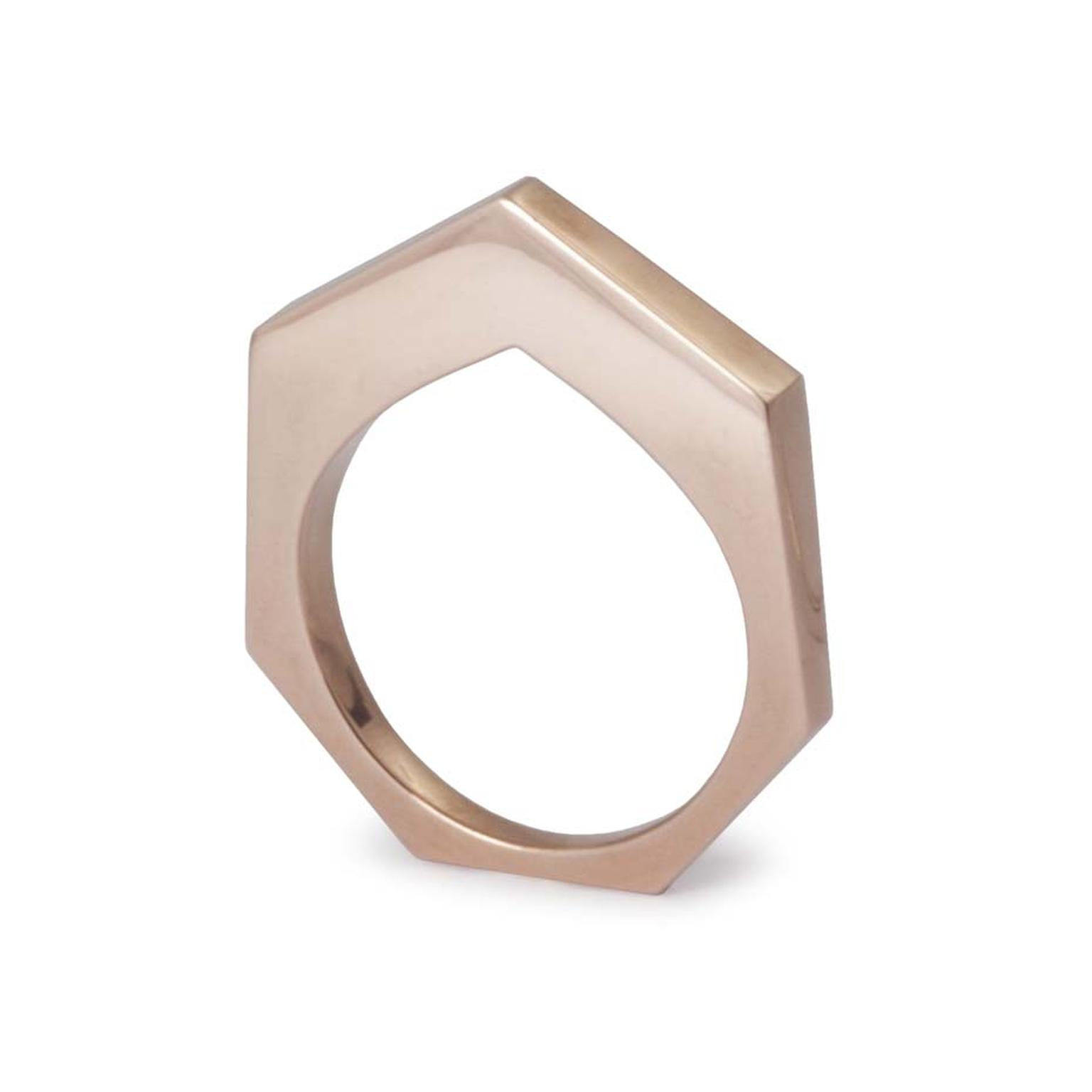 Kattri Polygon Flat rose gold ring (£2,150).